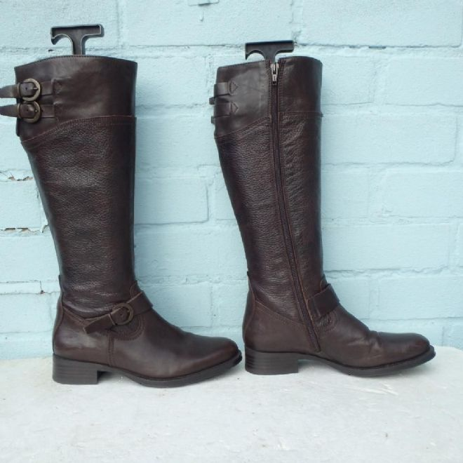 Aldo Brown Leather Boots Size Uk 3 Eur 36 Sexy Womens Ladies Buckles Boots
